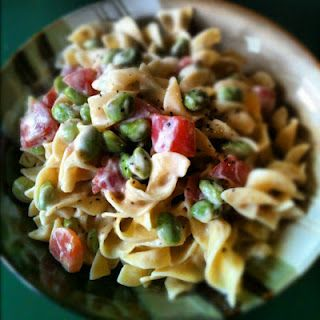 The Adventures of Kitchen Girl: {Vegan} Alfredo Sauce with Edamame and Tomato
