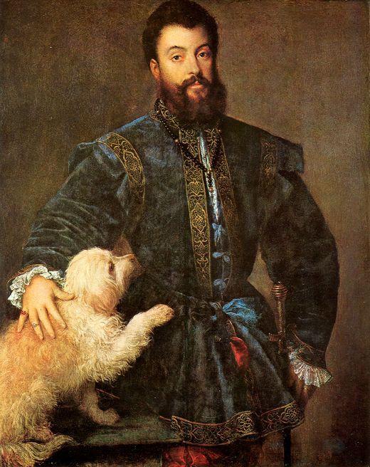 Titian 1529.'Portrait of Frederico Gonzaga with his dog' ALTO RENACIMIENTO: