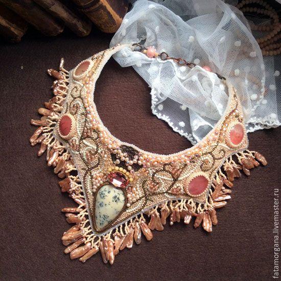 """Купить колье """"Аврора"""" - бежевый, кремовый, слоновая кость, винтаж, винтажный стиль, завитки"""