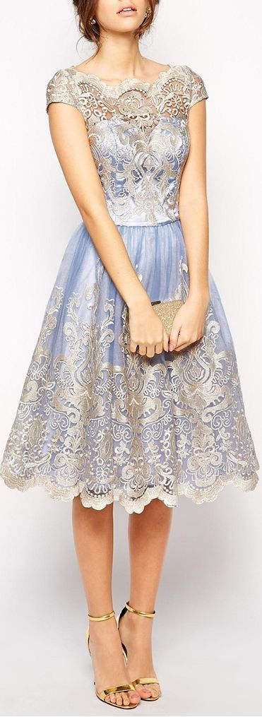 Chi Chi London prom dress from Asos. Metallic lilac lace dress