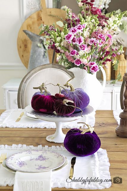 DIY Tips on How to Layer Plates in Tablescapes from Shabbyfufu. This weekend I'm using French ironstone plates velvet pumpkins for the family dinner!