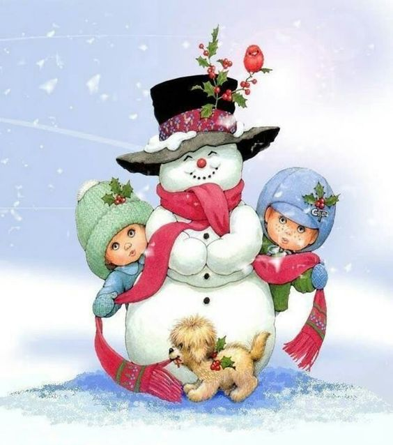 Whimsical snowman and kids: