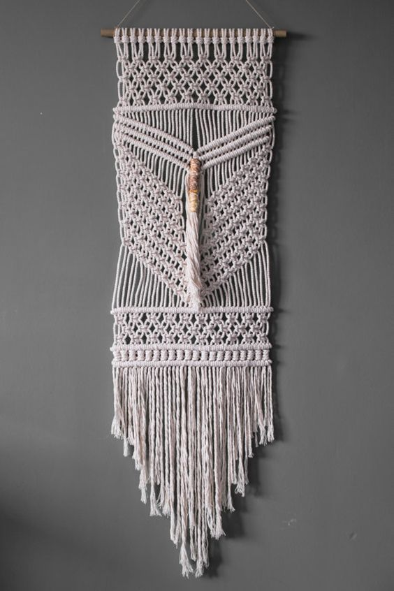 Macrame Wall Hanging  Ecru Recycled Cotton by ButtermilkDesignCo