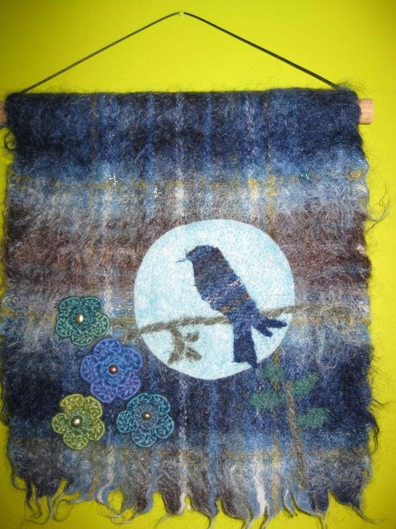 Recycled wool art Rickety Gates - Night Bird, (http://www.ricketygates.com.au/night-bird/)