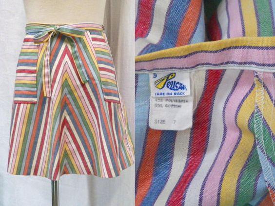 70s chevron mini wrap skirt / pocketed A Line by LuxLoveVintage