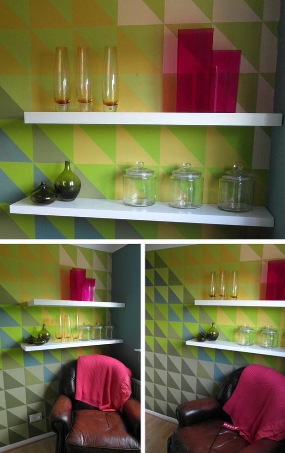 Rosie's Office Makeover - DIY geometric office mural