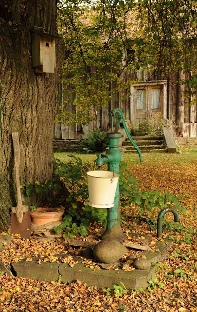 My great grandfather had an old red water pump like this in his kitchen!  The coldest water would come from his well.