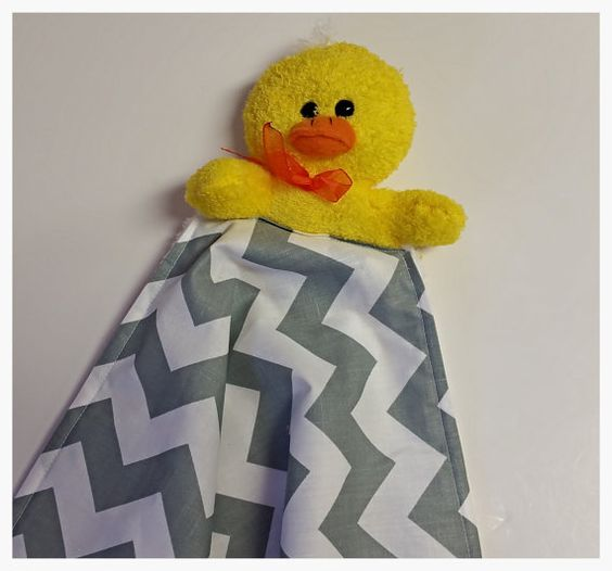 Baby Security Blanket Yellow grey Baby lovie by PegsSewCrafty