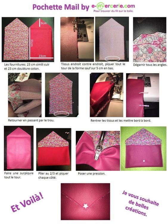 pochette mail facileBonjour, Voici une pochette très simple à faire. J'espère que le tuto vous plaira. Tissus sur http://www.e-mercerie.comLa mercerie en ligne e-mercerie c'est un large choix de tissus à la coupe, d'accessoires et d'articles de mercerie...