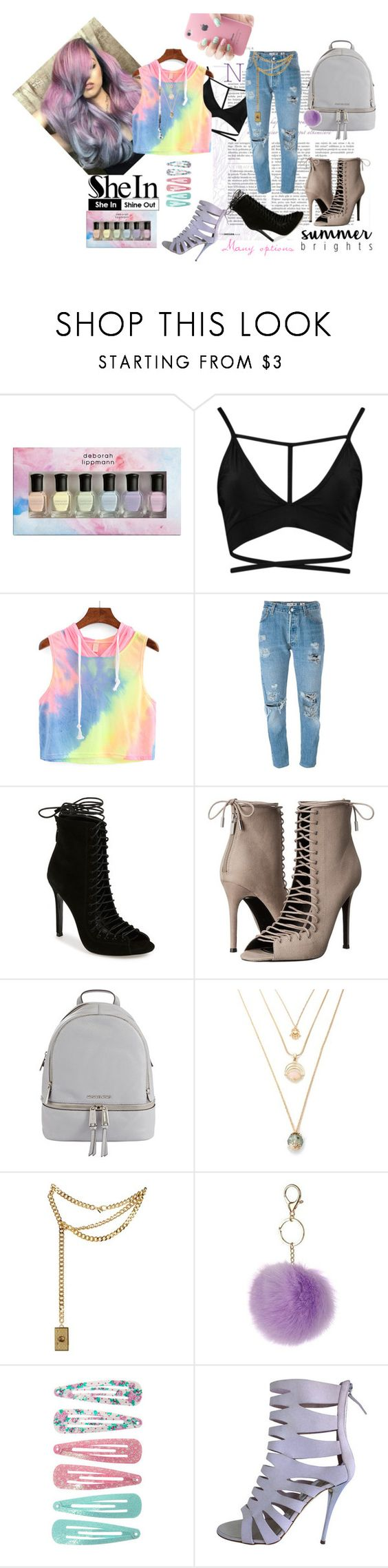 """Iris Top SheIn"" by natzumys ❤ liked on Polyvore featuring Deborah Lippmann, Levi's, Kendall + Kylie, MICHAEL Michael Kors, Moschino, Dorothy Perkins, claire's and Giuseppe Zanotti"