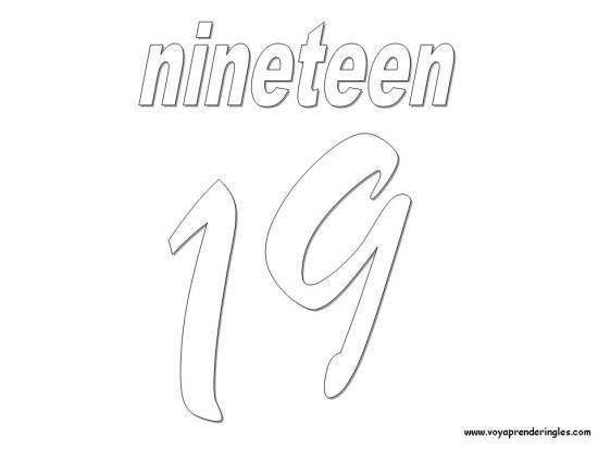 Nineteen Dibujos Los Numeros En Ingles Dibujos Numbers Numeros En Ingles Dibujos Ingles