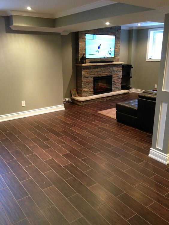 Hardwood floor alternative hardwood styled tile dark for Basement bathroom flooring ideas