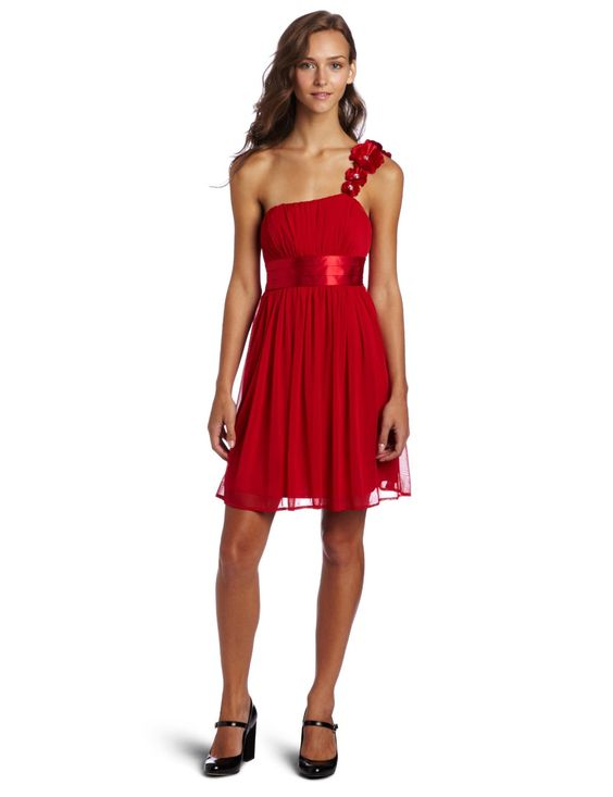 love the color! My Michelle Juniors Flower One Shoulder Dress, Red, Medium: Clothing