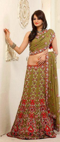 Classy Mehendi Green Bridal Lehenga Choli | Saris and Things
