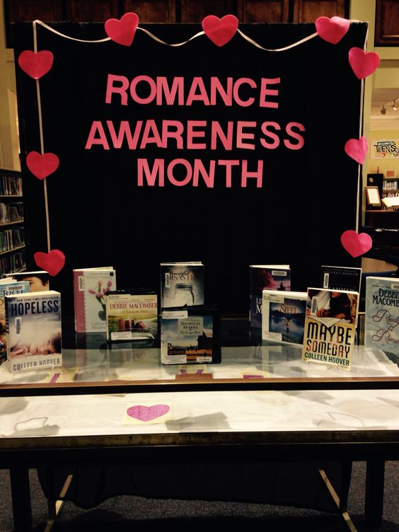 Our display at South Mississippi Regional Library! Romance Awareness Month.: