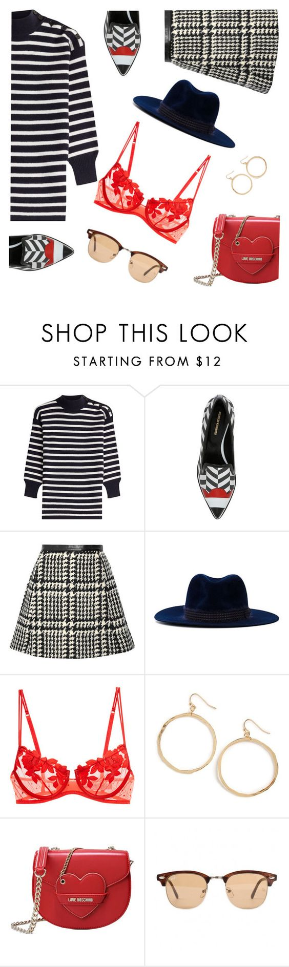 """City rush"" by oli2015 ❤ liked on Polyvore featuring Alexander McQueen, Nicholas Kirkwood, Jill Stuart, Filù Hats, La Perla, BP., Love Moschino, Ray-Ban, women's clothing and women"