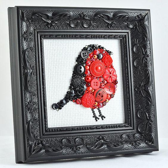 Framed Button Art Red Robin Handmade by PaintedWithButtons