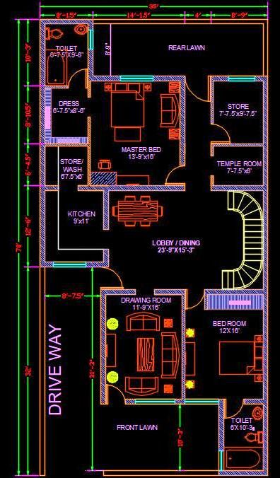 House Architectural Space Planning Floor Layout Plan 35 X70 Dwg File Download House Layout Plans House Construction Plan West Facing House