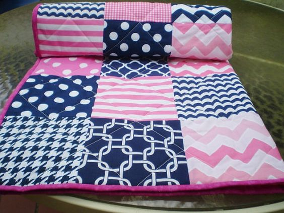 Baby Quilt,Nautical Baby quilt,baby girl quilt bedding,Patchwork Crib quilt,navy blue,hot pink,chevron baby blanket,dot,modern quilt,toddler
