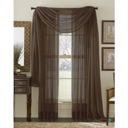 Curtains Ideas cheap brown curtains : Amazon.com - 6 Piece Solid Chocolate Brown Sheer Curtains Panels ...