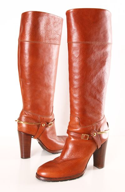 italian leather ralph and designer boots on