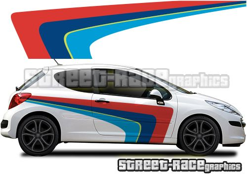 Peugeot 207 Retro Rally Style Large Side Printed Graphics Autos