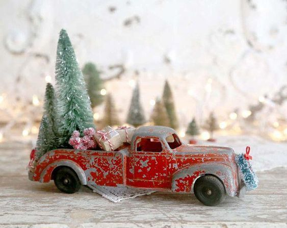 Red Truck Christmas, Vintage Red Truck and Christmas Tree, Bottle Brush Tree, Country Farmhouse Christmas Decor, Retro Christmas #christmascollectibles