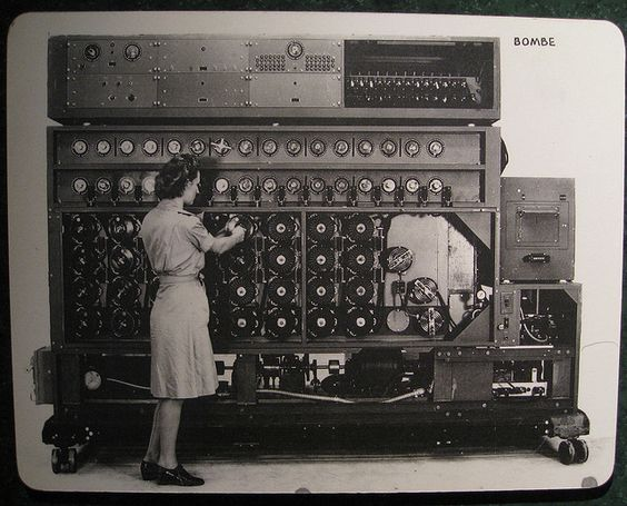 """This U.S. Navy """"bombe"""" was one of many computers used to decrypt German military communiqués. It was much too large to fit inside a greeting card. Image source: J. Brew/Flickr."""