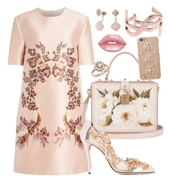 """RoseGold"" by anna-nedelcheva ❤ liked on Polyvore featuring STELLA McCARTNEY, Dolce&Gabbana, Oscar de la Renta, MICHAEL Michael Kors, Michael Kors, Yves Saint Laurent, Bloomingdale's and Lime Crime"