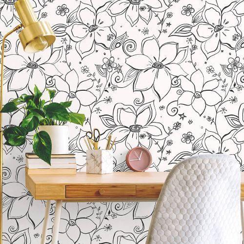 Linework Floral Peel And Stick Wallpaper Lelands Wallpaper Peel And Stick Wallpaper Modern Wallpaper Wallpaper