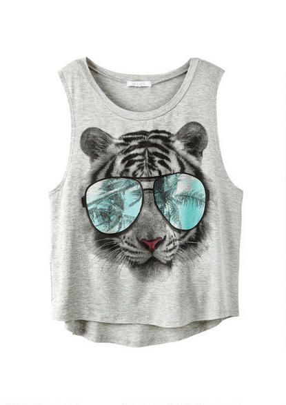 Tiger with Glasses Tank - Online Exclusives - Clothes - dELiA*s