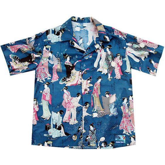 Hawaiian Shirts ❤ liked on Polyvore featuring tops, vintage hawaiian shirt, hawaiian print shirts, hawaiian tops, vintage shirts and hawaiian shirt