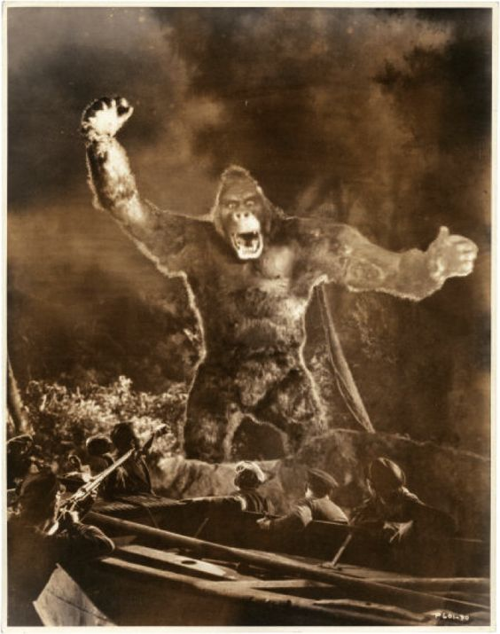 """King Kong by Ernest A. Bachrach (RKO, 1933). Photo (10.5"""" X 13.5"""").Vintage gelatin silver, double weight, satin finish photo. Two and a half years in the making, this landmark film from Merian C. Cooper and Ernest B. Schoedsack was a blockbuster hit for RKO and changed movie making forever."""