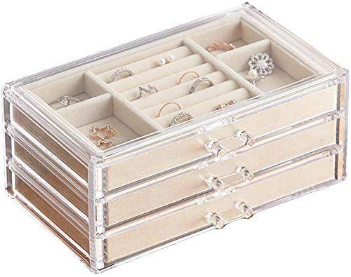 Best Seller Herfav Jewelry Box Women 3 Drawers Velvet Jewelry Organizer Earring Bangle Bracelet Necklace Rings Storage Clear Acrylic Jewelry Case Online Jewelry Organizer Box Jewelry Organization Ring Storage