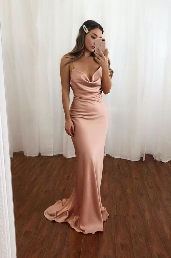 Chic Mermaid Cowl Neck Open Back Blush Satin Long Prom Dresses With Train 2020 Evening Party Dresses Simple Evening Dress Pink Prom Dresses Evening Dresses Elegant