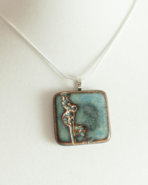 Large square blue porcelain nature pendant by ALLArtsyJewelry, $25.00