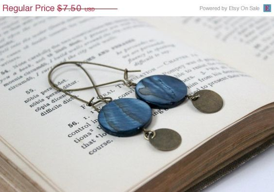 Long London Blue and Antique Gold Earrings on Kidney Earwires by belleonabudget #bestseller