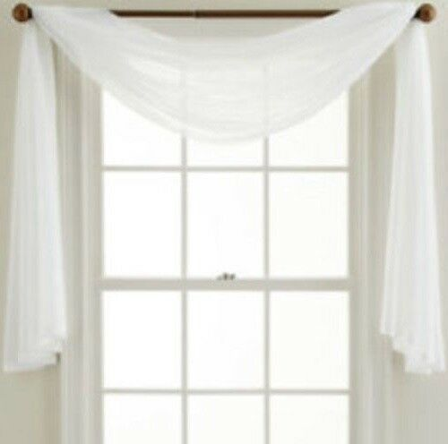 White Sheer Single Scarf Polyester Window Valance Topper Curtain 30 X 144 Unbranded Scarf Valance Window Scarf Valance