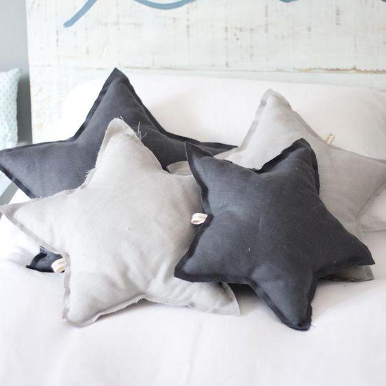 Coj n estrella gris oscuro b by - Cojines infantiles originales ...