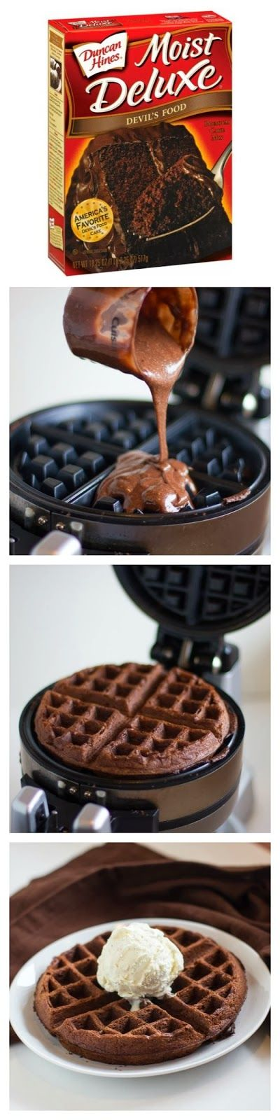 How To Cake Mix Waffles: just follow the recipe on the box. Very yummy, but not for breakfast!