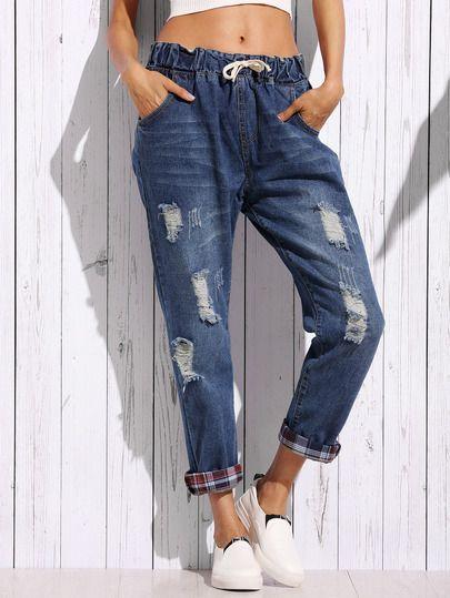 Jeans décontractés effet déchiré taille coulissée - bleu
