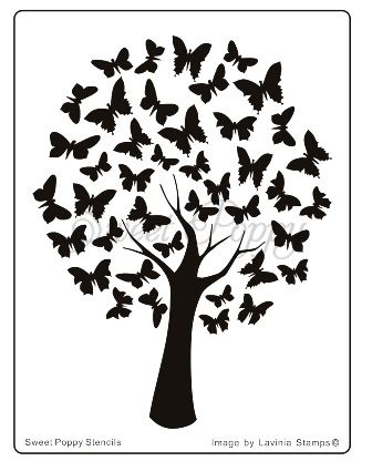 Sweet Poppy Stencil: Butterfly Tree