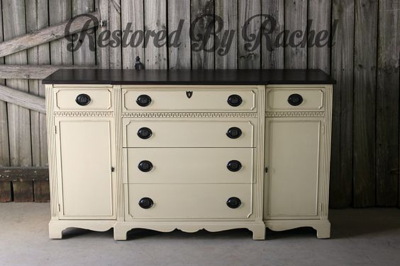 Buffet painted in Linen and dark wazed by Restored by Rachel