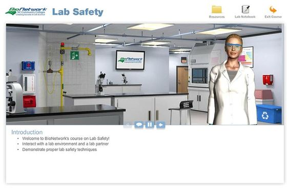 Lab Safety is a scenario-based learning object in which you help your virtual lab partner, Maxine, work safely in the lab.