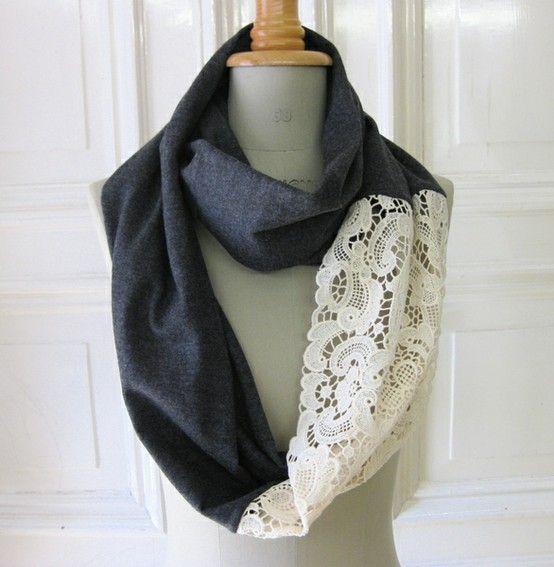 Circle scarf w/ lace.