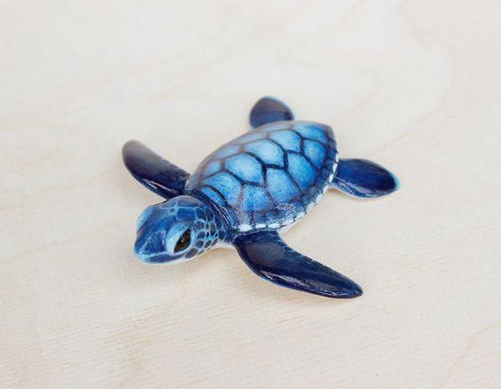 baby sea turtle figurine by byrdis on Etsy