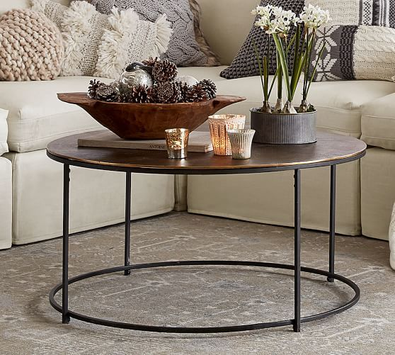 Wes Round Coffee Table Potterybarn Bronze Coffee Table Brass