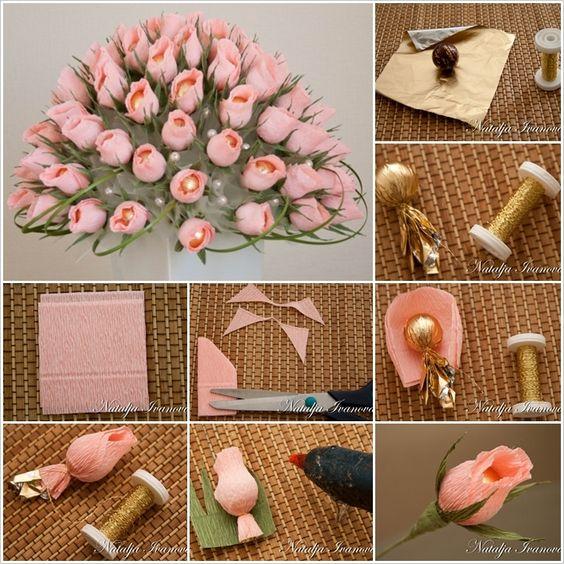 DIY Schöne Schokolade und Krepp-Papier-Blumen-Blumenstrauß