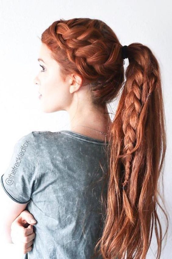A double French braid with a ponytail is a nice way to make your regular 'do fancier. It looks really casual and a little bit festive at the same time. Go ahead and get started with this hair tutorial how to do a double braid with poytail hairstyle.
