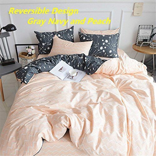 Pinkmemory Queen Duvet Cover Cotton Bedding Set Gray Flowers